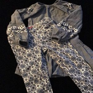 Two piece matching pants suit with embroidery.